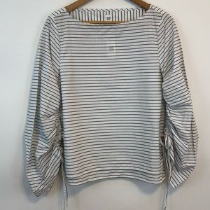 Gap NWT Cinched Sleeve Oversized Top Black Stripe